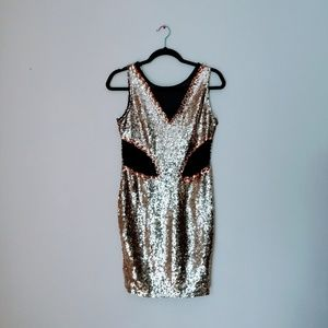 Women's Gold Sequins Dress Size M New